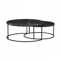 Elle Round Marble Nest Coffee Tables- 950 Dia x H400 + 800 Dia x H340 mm- Globewest- Black/Matt Black-