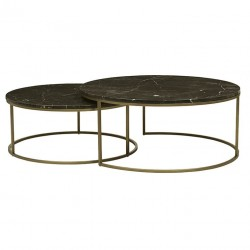 Elle Round Marble Nest Coffee Tables- 950 Dia x H400 + 800 Dia x H340 mm- Globewest- Brushed Gold/Brown-