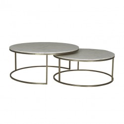 Elle Round Marble Nest Coffee Tables- 950 Dia x H400 + 800 Dia x H340 mm- Globewest- Brushed Gold/Matt White-
