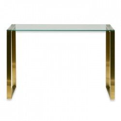 Elle Luxe Glass Console Table - Brushed Gold Base-Daelce and Zo