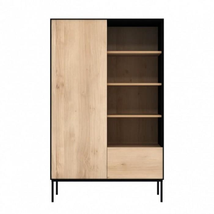 Ethnicraft Oak Blackbird Storage Cupboard - 1 Door 1 Drawer 110 x 45 x 178Cm-51470