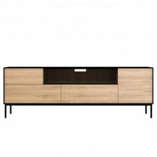 Ethnicraft Oak Blackbird TV Cupboard - 1 Doors 1 Flip down Door 2 Drawers 180 x 45 61Cm-Ethnicraft