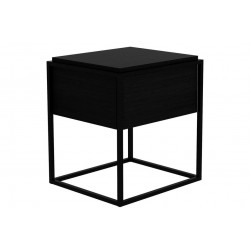 Ethnicraft Oak Monolit bedside table - 1 drawer - Black oak-Ethnicraft