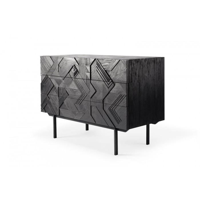 Ethnicraft Teak Graphic chest of drawers – 3 drawers – black metal legs 100x50x87-10063