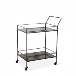 Ethnicraft Dixon Bar cart - 2 charcoal mirror shelves