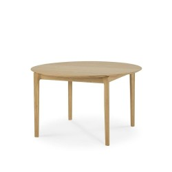 Ethnicraft Oak Bok round extendable dining table 129-179 x 129cm-Ethnicraft