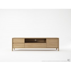 Circa Media Cabinet with 2 Drawers Flip Door - European Oak