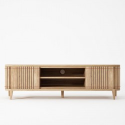 Koppar Media Cabinet with 2 Doors & Removable Shelf - European Oak