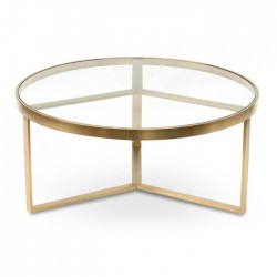 Elle Luxe 90cm Coffee Table - Brushed Gold Base-Daelce and Zo