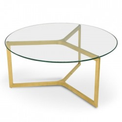 Elle Luxe Glass Round Coffee Table - Gold Base-Daelce and Zo