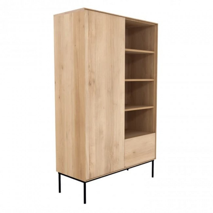 Ethnicraft Oak Whitebird Storage Cupboard - 1 DOOR, 1 DRAWER, BLACK METAL LEGS-51469