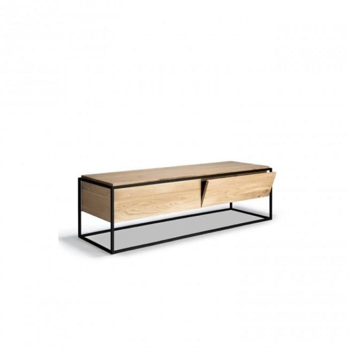 Ethnicraft Oak Monolit TV cupboard - 1 drawer - 1 flip-down door - Black in Black 140cm-26879