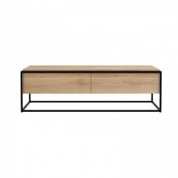 Ethnicraft Oak Monolit TV cupboard - 1 drawer - 1 flip-down door - Natural in Black Frame 140cm
