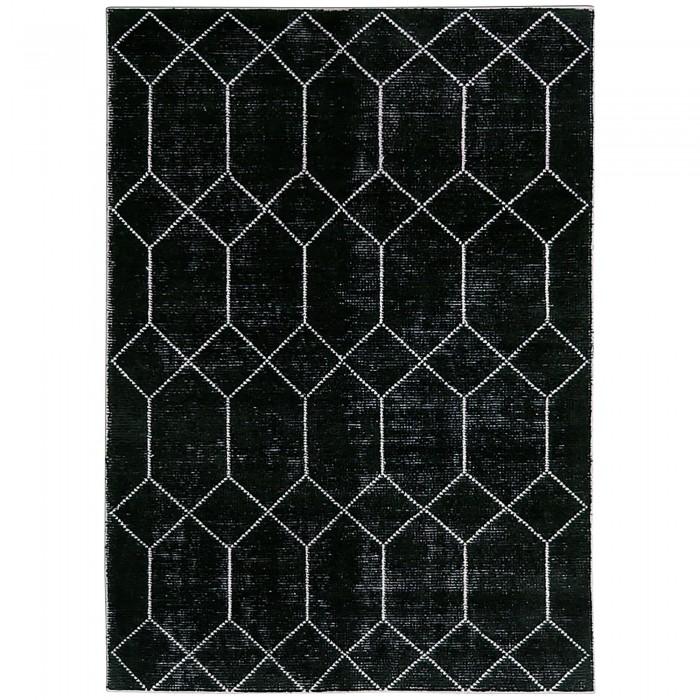 Geometric Wool & Viscose Black 250x350