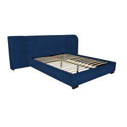 BAXTER BED - KING - VELVET 110H X 303W X 227L NAVY