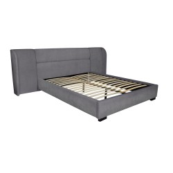 BAXTER BED - QUEEN - VELVET 110H X 274W X 227L CHARCOAL