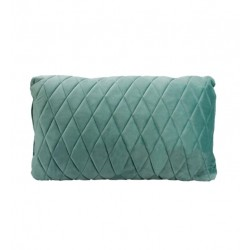 COCO QUILTED (ONE SIDE) VELVET CUSHION - DIAMOND STITCH (FEATHER FILL) 35 X 55 AQUA