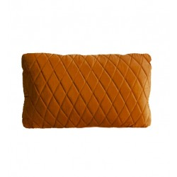 COCO QUILTED (ONE SIDE) VELVET CUSHION - DIAMOND STITCH (FEATHER FILL) 35 x 55 BURNT ORANGE