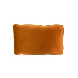 COCO PIPED VELVET CUSHIONS - GOLD TRIM (FEATHER FILL) 35 x 55 BURNT ORANGE