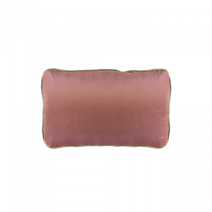 COCO PIPED VELVET CUSHIONS - GOLD TRIM (FEATHER FILL) 35 x 55 PINK