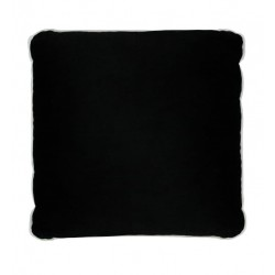 COCO PIPED VELVET CUSHIONS - WHITE TRIM (FEATHER FILL) 55 x 55 BLACK
