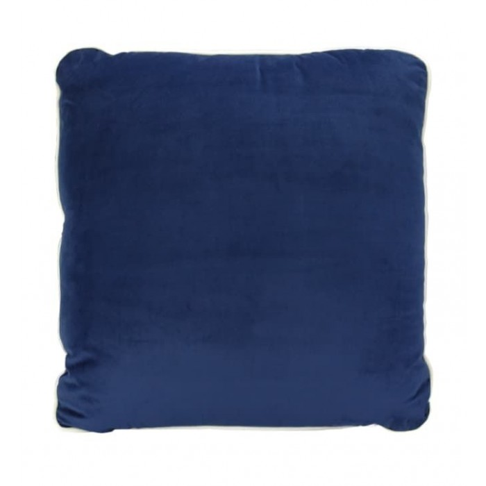 COCO PIPED VELVET CUSHIONS - WHITE TRIM (FEATHER FILL) 55 x 55 FRENCH NAVY