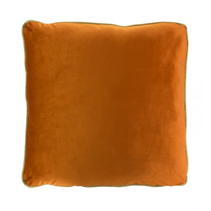 COCO PIPED VELVET CUSHIONS - GOLD TRIM (FEATHER FILL) 55 x 55 BURNT ORANGE
