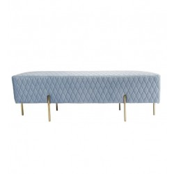 COCO VELVET QUILTED OTTOMAN - GOLD/SILVER OR BLACK LEG 50 H X 150 W X 50  D BLUE GREY