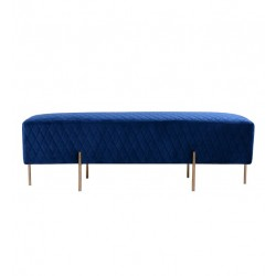 COCO VELVET QUILTED OTTOMAN - GOLD/SILVER OR BLACK LEG 50 H X 150 W X 50  D FRENCH NAVY