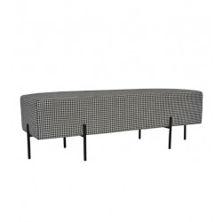 COCO FABRIC NON QUILTED OTTOMAN - BLACK LEG (NO DIAMOND STITCH) 50 H X 150 W X 50  D HOUNDSTOOTH