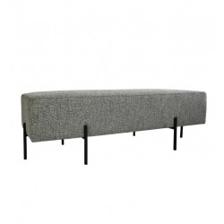 COCO FABRIC NON QUILTED OTTOMAN - BLACK LEG (NO DIAMOND STITCH) 50 H X 150 W X 50  D TEXTURED GREY