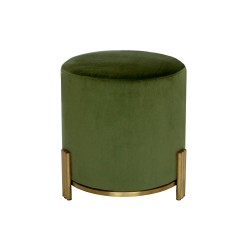LUCA OTTOMAN - GOLD BASE - SMALL 45 H X 42 W X 42 D OLIVE GREEN