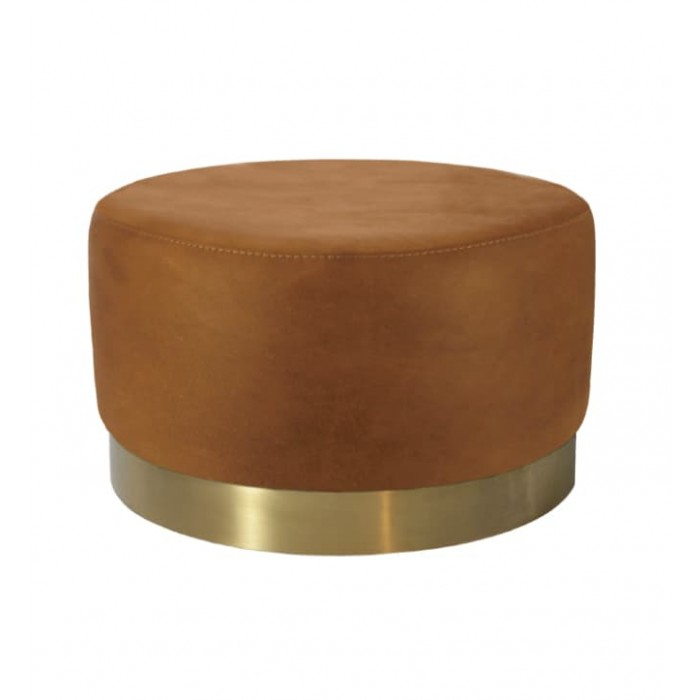 MILAN RECYCLED LEATHER OTTOMAN - BRUSHED GOLD BASE - SMALL 47 H X 45 W X 45 D COGNAC