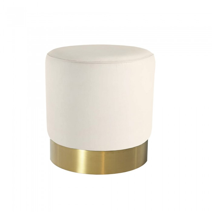 MILAN RECYCLED LEATHER OTTOMAN - BRUSHED GOLD BASE - SMALL 47 H X 45 W X 45 D WHITE FOX