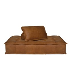 CAPRI TWO SEATER LOUNGER - MODULAR - LEATHER 73 H X 185 W X 125 D COGNAC LEATHER