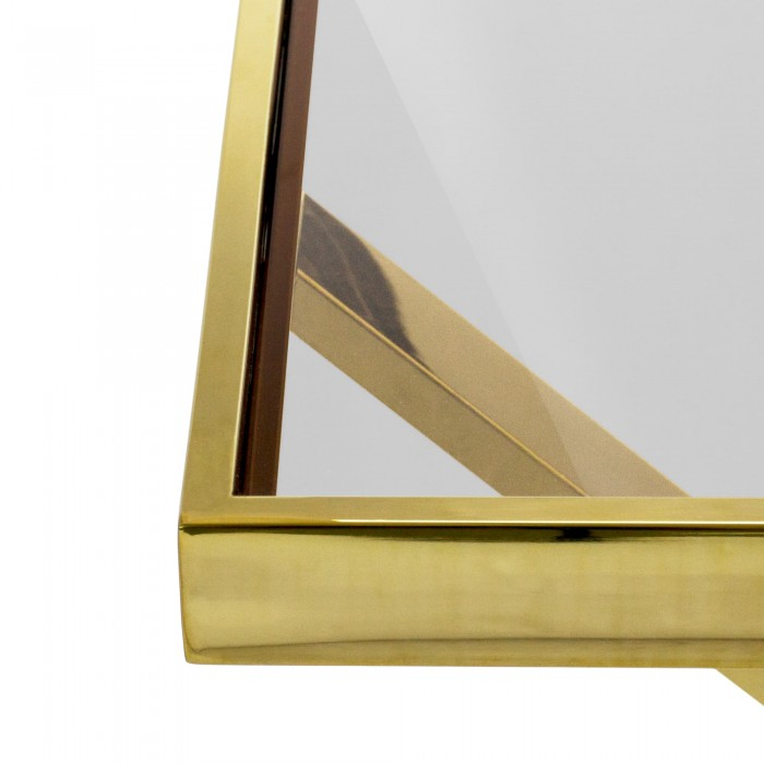MANHATTAN SIDE TABLE - GOLD FRAME WITH TEA GLASS TOP 45H X 45D X 50W GOLD TEA GLASS
