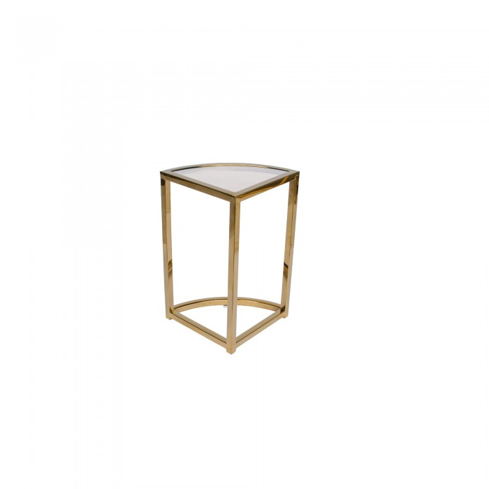 PERUGIA NESTING SIDE TABLE - FIVE PIECE GOLD FRAME WITH TEA GLASS TOP 48H X 60D X 60W GOLD TEA GLASS