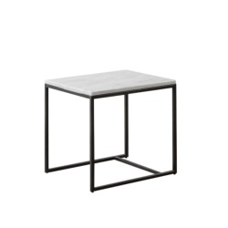 RENO - SIDE TABLE - SMALL - NESTING OPTION W 48 D 38 H 43.5 WHITE MARBLE - BLACK FRAME/BASE