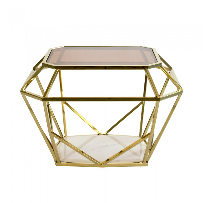 SIENA SIDE / COFFEE TABLE - GOLD FRAME WITH MARBLE BASE AND TEA GLASS TOP 45H X 55D X 65W GOLD TEA GLASS