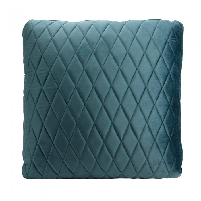 COCO QUILTED (ONE SIDE) VELVET CUSHION - DIAMOND STITCH (FEATHER FILL) 55 x 55 STEEL BLUE
