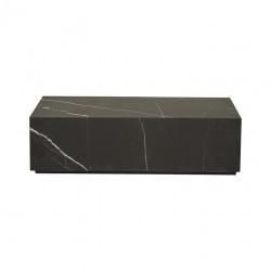 Elle Rectangular Block Coffee Table Black Marble W1000 x D600 x H280  - Globewest