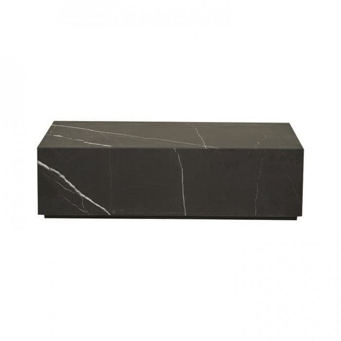 Elle Rectangular Block Coffee Table Black Marble W1000 x D600 x H280  - Globewest-CTR-ELL-BLO-MTBK