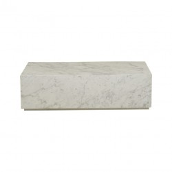Elle Rectangular Block Coffee Table White Marble W1000 x D600 x H280  - Globewest-GlobeWest