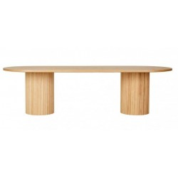 Benjamin Ripple Oval Dining Table / Natural Ash W2800 x D1100mm  - Globewest