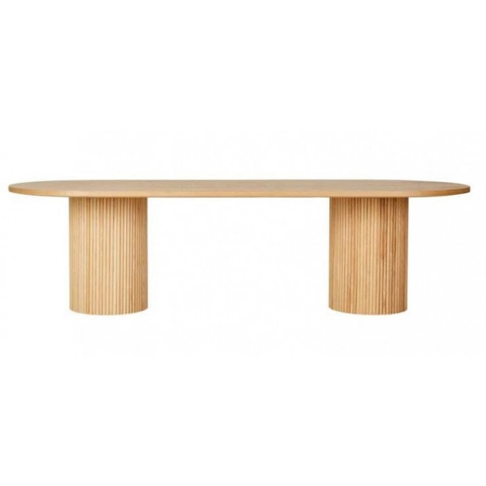 Benjamin Ripple Oval Dining Table / Natural Ash W2800 x D1100mm  - Globewest-DT-BEN-RIP-OVL-10S-ASH