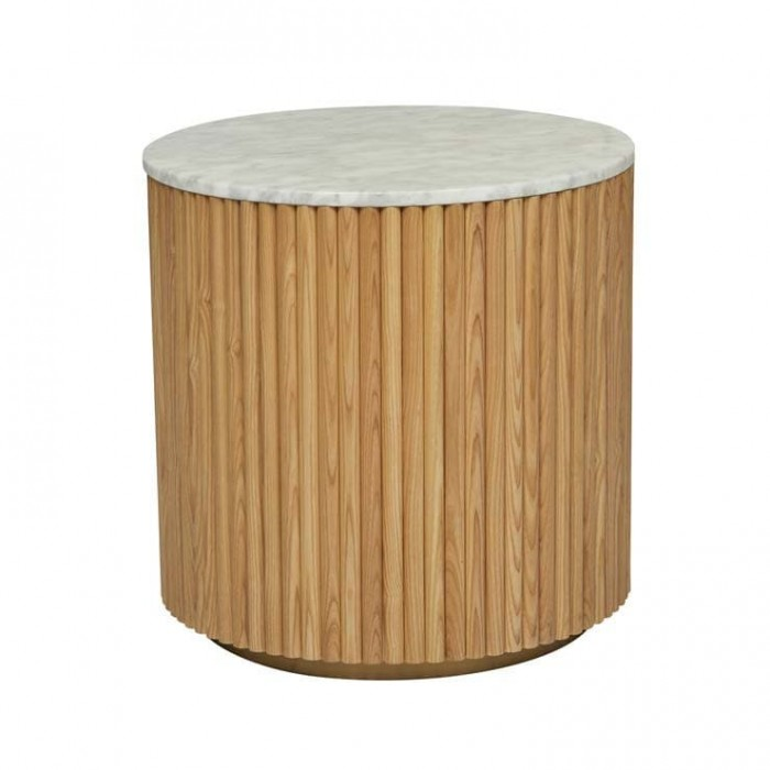 Benjamin Ripple Marble Side Table 50cm  - Natural Ash / White Marble  - Globewest-LTO-BEN-RIP-NA/MTWH