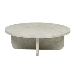 Amara Curve Coffee Table White Marble 900D x H300mm  - Globewest-GlobeWest