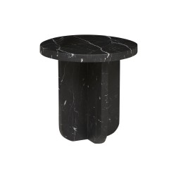 Amara Curve Side Table Black Marble 500D x H500mm  - Globewest-GlobeWest