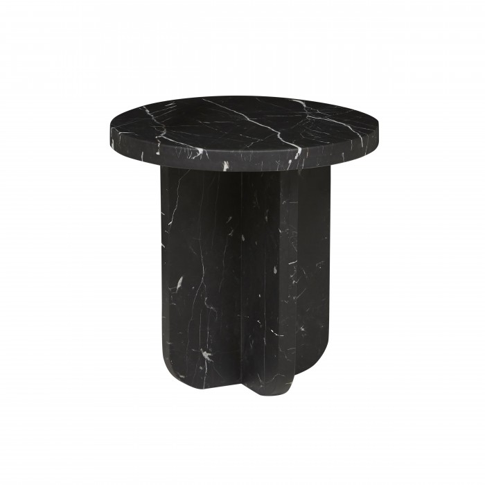 Amara Curve Side Table Black Marble 500D x H500mm  - Globewest