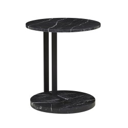 Amara Linear Side Table Black Marble 500D x H560mm  - Globewest-GlobeWest